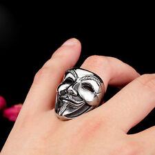 Cool 316L Titanium Steel  Jewelry V For Vendetta Movie Mask Ring Sz S10