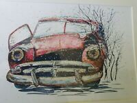 ORIGINAL new signed watercolour ART PAINTING of Abandoned Old Car in snow