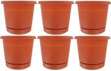 "(6) ea Att Southern 4.5"" Terra Cotta Plastic Rolled Rim Planter with Saucer"