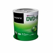 100 Sony DVD+R 120Min 4.7 GB DVD Recordable 4.7GB For Video Spindle(16x) 100DPR4