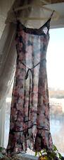 Ultra Sheer Chiffon Black Flower Elegant Slip Nightgown M-L
