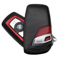 BMW GT Remote Key Leather Case Cover Bag Holder Car Logo Keyring Chain Black&Red