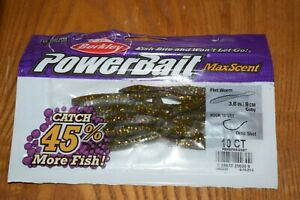 """Berkley PowerBait Maxscent Flat Worm 3.6"""" 10 Pack (Goby) New Sealed Pack"""