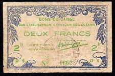 French Oceania  2 Francs  1943  P-12  handstamp