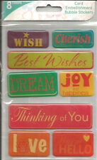 Colorbok Wish Epoxy Word Card Embellishment Bubble Stickers 8pc