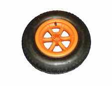 "16"" orange SPOKED pneumatic wheelbarrow wheel 4.80-8 BENT valve 1"" BORE - 4PLY"