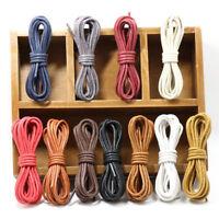 Fashion 60-180cm Round Cotton Waxed Cord Shoe Laces Unisex Shoelaces String Lots
