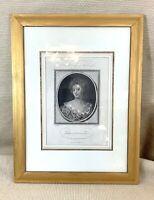 1786 Antique Framed Engraving Duchess of Marlborough Portrait Blenheim Palace