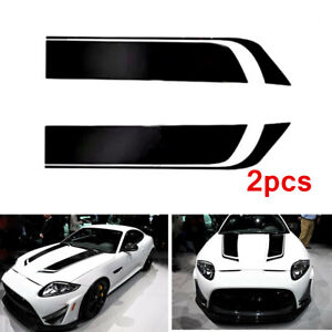 2pcs 85cm Black Stripes Racing Body Decal DIY Sticker Customize Car Accessories