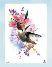 "watercolor hummingbird flower 8.25"" temporary arm tattoo face decor"