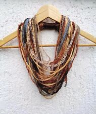 Yarn Scarf Necklace Infinity Mustard Brown Tribal Necklace Autumn Blaze Scarves