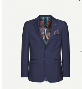 TED BAKER Debonair dragonfly-print modern-fit wool blazer Size 42R