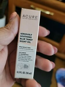 Acure Seriously Soothing Blue Tansy Night Oil ROLLERBALL Mini .3oz, 10ml NIB