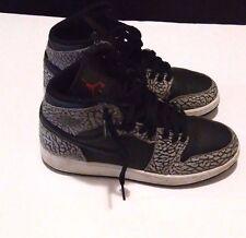 Retro Air Jordan 1 High Gray Cement Elephant Black Used Youth Size 6 Y