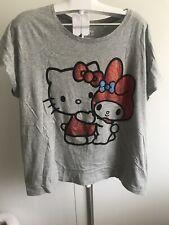 RARE Uniqlo x Sanrio Hello Kitty Melody Grigio UT T-Shirt Donna XL con cristalli