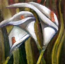 Calla Lilies 10x10 in. Oil on stretched canvas Hall Groat Sr.