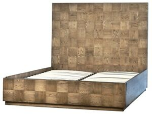 "87"" Vanna Queen Bed Square Parquet Red Oak Wood with Veneer Modern"
