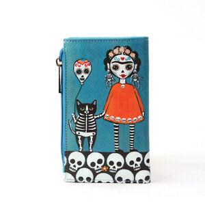Frida Kahlo Wallet Womens Day Dead Horror Gothic Goth Blue Black Sugar Skull