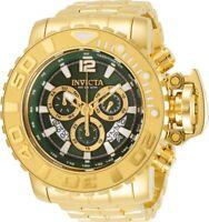 Invicta Mens 70MM Sea Hunter Gold-Tone 200M Swiss Green Dial SS Bracelet Watch