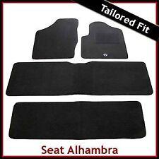 SEAT Alhambra Mk1 1996-2010 Totalmente a Medida Alfombra Tapetes Coche Negro Equipada