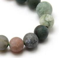 Natürliche Indische Achat Perlen 4mm Frosted Grün Rund Edelsteine BEST G732