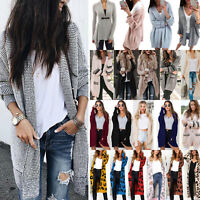 Women Knitted Cardigan Sweater Long Sleeve Waterfall Jacket Coat Knitwear Jumper