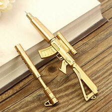 Gold Rifle Shape Black Ink Ballpoint Pen Stationery Office Ball Point office