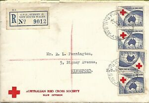 AFD4000) Australia 1954 3d Red Cross x 4 (vertical pair & two singles) on  offic