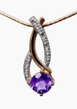 Anhänger mit Amethyst und kleinem Diamant, 925er Silber vergoldet und rhodiniert