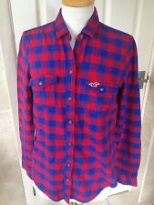 Hollister Ladies Red/Blue Check Long Sleeve Shirt Size S. Good Condition.