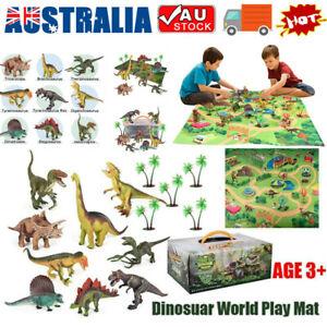 Dinosaur Figure Toys Play Mat + Trees Educational Realistic Dino World Playset