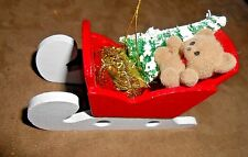 Wooden Sleigh w/Bear/Tree/Present Holiday Christmas Ornament - Very Good Shape