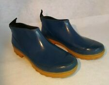 Womens Blue Ankle Rubber Rain Boots Galoshes Size 8