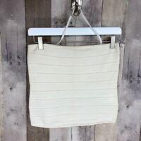BEBE Women's Size Large Strapless Bandage Top Halter Strap Gold Metallic Stretch