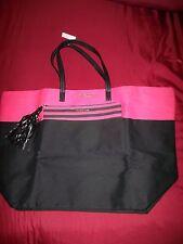 Victorias Secret 23x15 Canvas Tote With Striped Tasseled Mini Bag Pink Black NWT