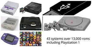 44 systems 13,000+ roms with Playstation 1 roms USB for PC