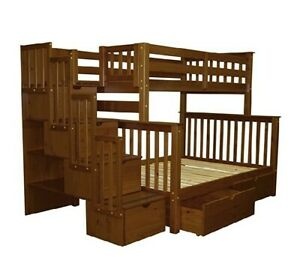 Bedz King Stairway Bunk Beds Twin over Full with 4 Drawers Espresso Twin