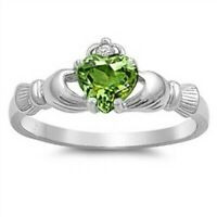 Celtic Claddagh Ring Genuie Sterling Silver 925 Peridot CZ Height 9 mm Size 9