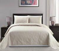 Fancy Linen 3pc Oversize Diamond Embossed Bedspread Assorted Colors, Sizes New