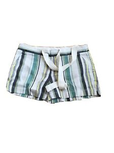 NWT Ann Taylor LOFT Striped Casual Linen Blend Belted Shorts Size 2