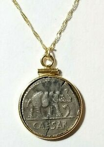 Authentic Julius Caesar Elephant Silver Denarius Coin 14K Solid Gold Necklace