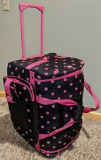 DREAM DUFFEL Large Rolling Dance Pageant Bag Luggage Suitcase Pink Polka Dot 27""