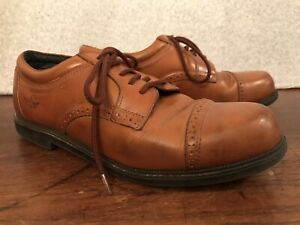 DOCKERS 90-2087 BROWN LEATHER OXFORD DRESS SHOES•USA-Mens 9.5 Wide Casual Loafer
