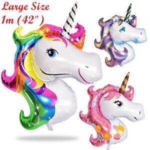 "Supershape 42"" Unicorn Head Foil Rainbow Purple Pink Balloon Birthday Party 1m"