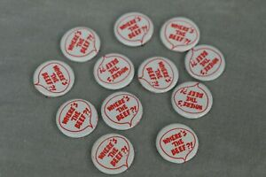 Vintage Where's the Beef Button Pin back Wendy's 1984 Lot of 12