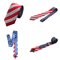 Men's Stylish 7CM Wide American US Flag Stars Stripes Neck Tie Party Necktie