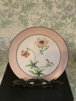 Vintage Meito China Hand Painted Plate Japan Pink Flowers Floral