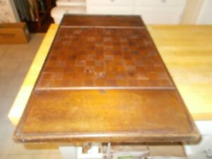 LATE 1800S EARLY 1900S ALL INLAID WOODEN CHECKERBOARD WITH ENDS FOR STORAGE