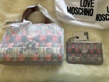NWT LOVE MOSCHINO Digital Dog Peace Sign Print Crossbody Satchel And Pouch!