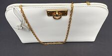 VINTAGE ELIANA WHITE LEATHER CLUTCH CHAIN SHOULDER BAG NEW ITALY RARE!